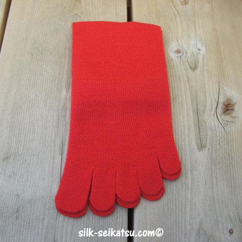 シルク5本指・赤