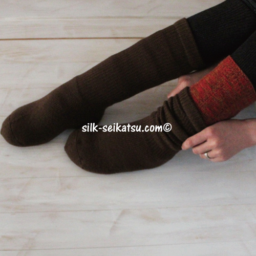 ウールパイル編みカバーソックス