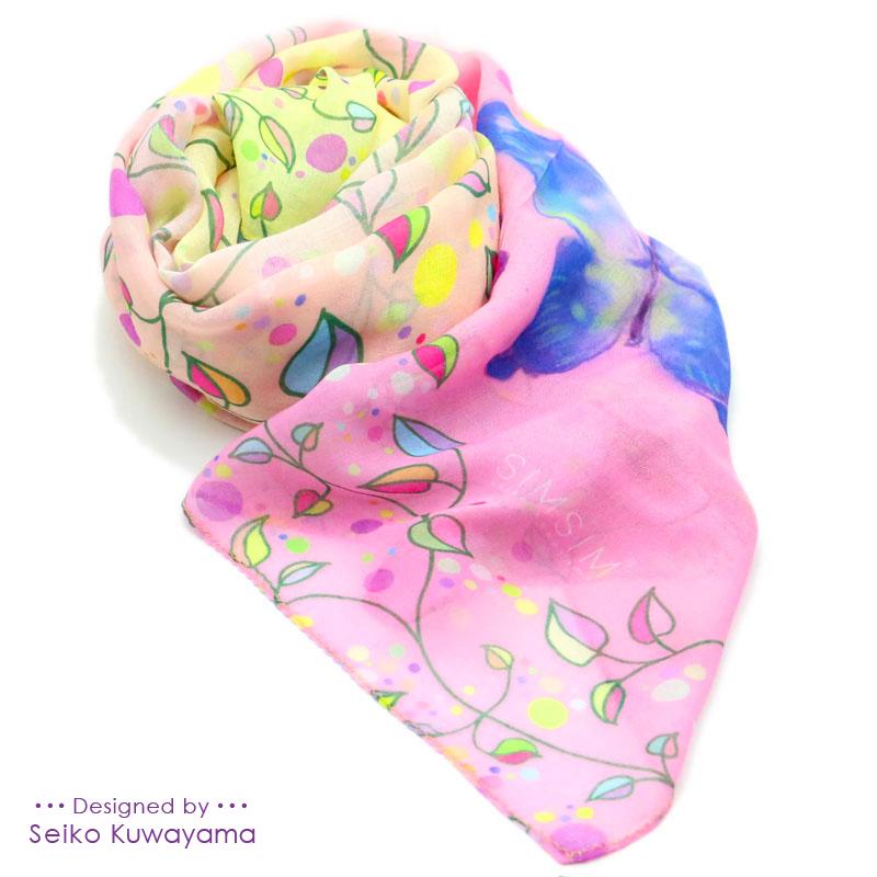 <ストール>蝶の夢(Pink&Yellow)