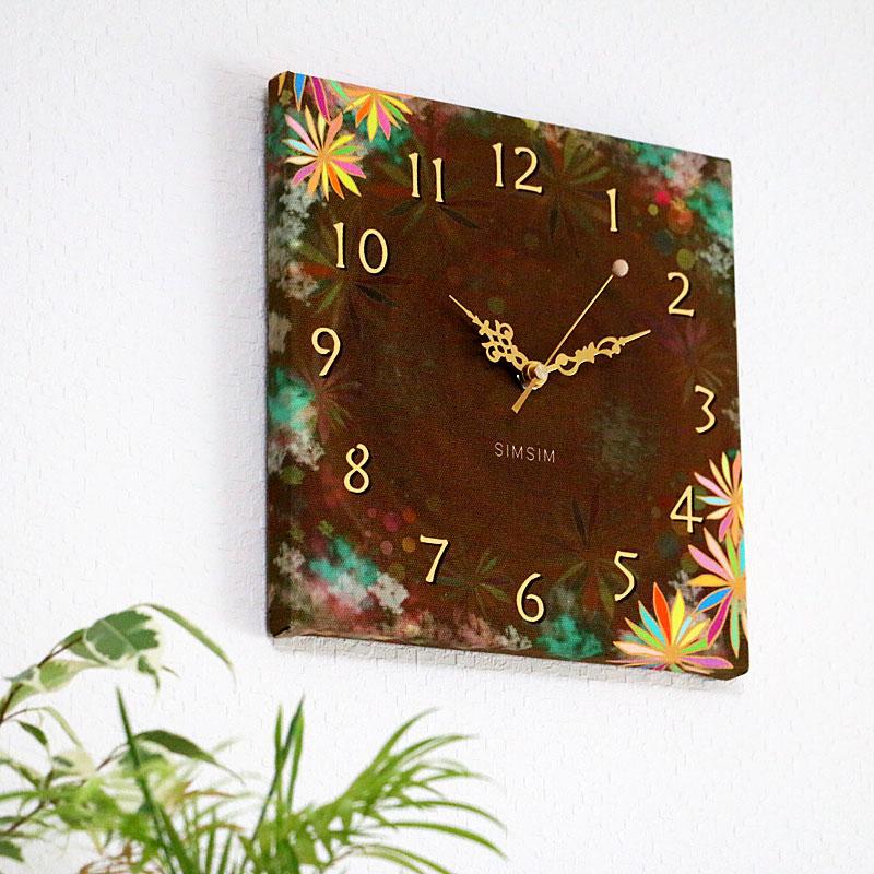 ファブリック掛け時計(南国のコーヒータイム)