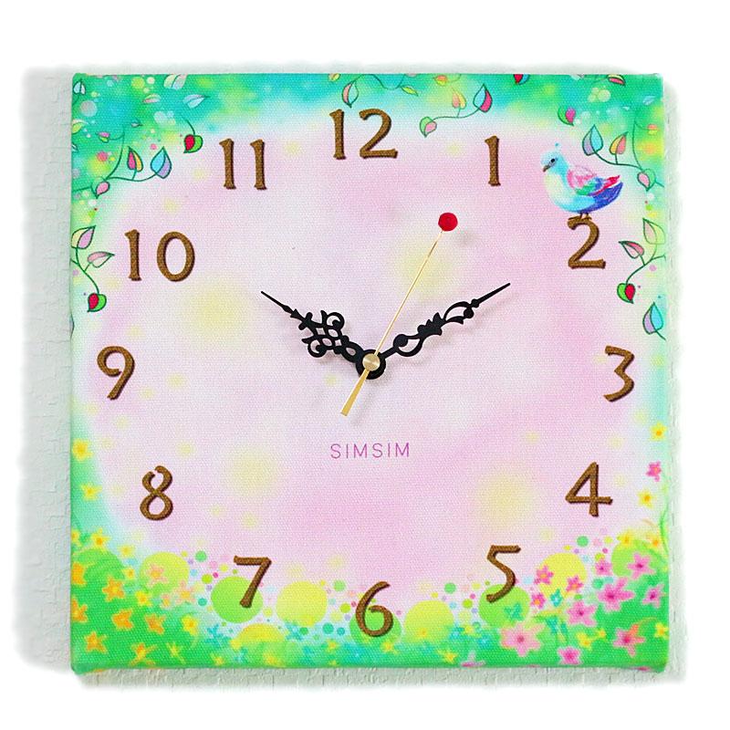 ファブリック掛け時計(幸せの森に住む小鳥)