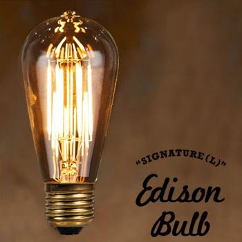 LED Edison Bulb SIGNATURE Lサイズ シグネチャー エジソンバルブ タングステン電球 インテリア 照明 口金E26タイプ 3W 輸入雑貨 腕時計とおもしろ雑貨のシンシア 天井 部屋 リビング 間接照明 プレゼント