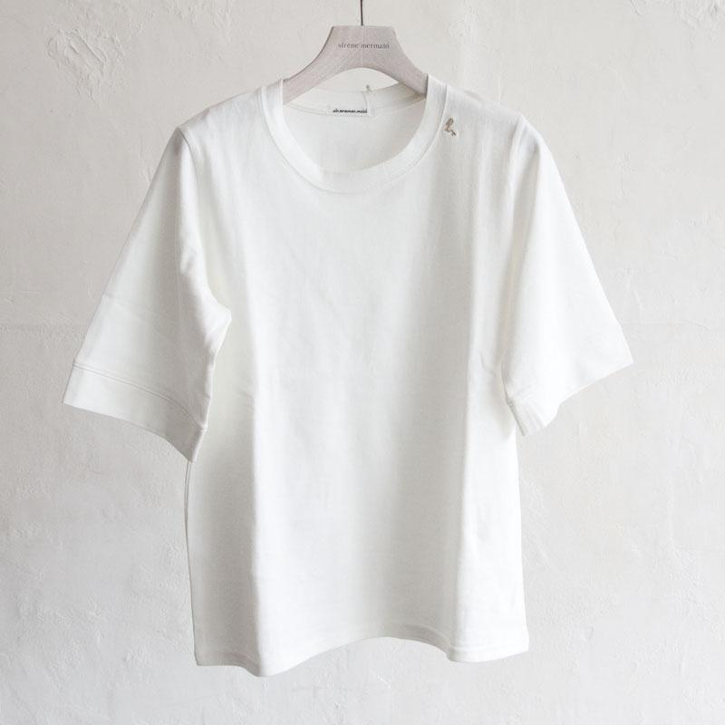 マーメイド刺繍入りhigh density jersey クルーネックプルオーバー