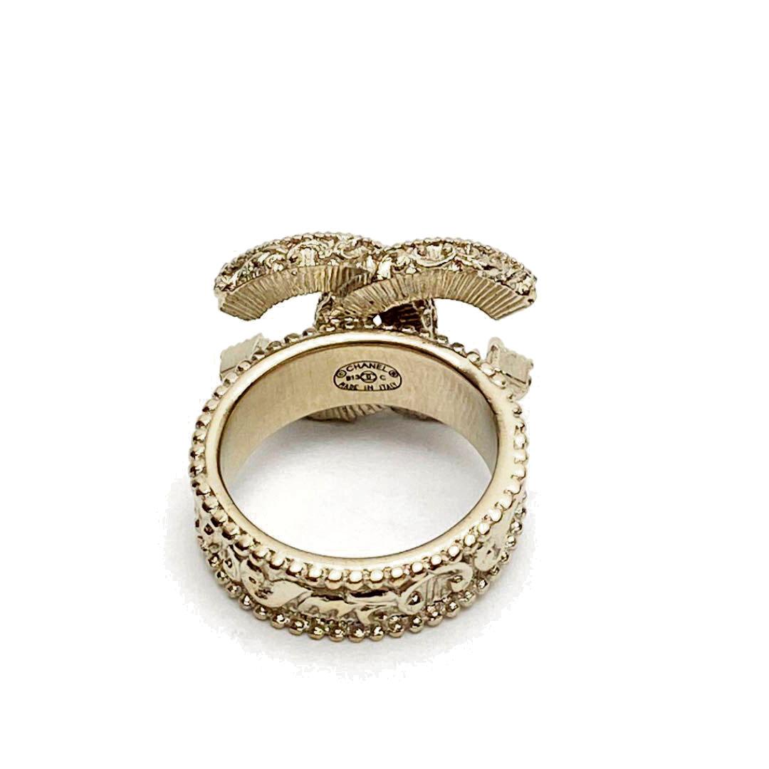 CHANEL シャネル リング 指輪 ココマーク ゴールド/ブラック B13C 約10号