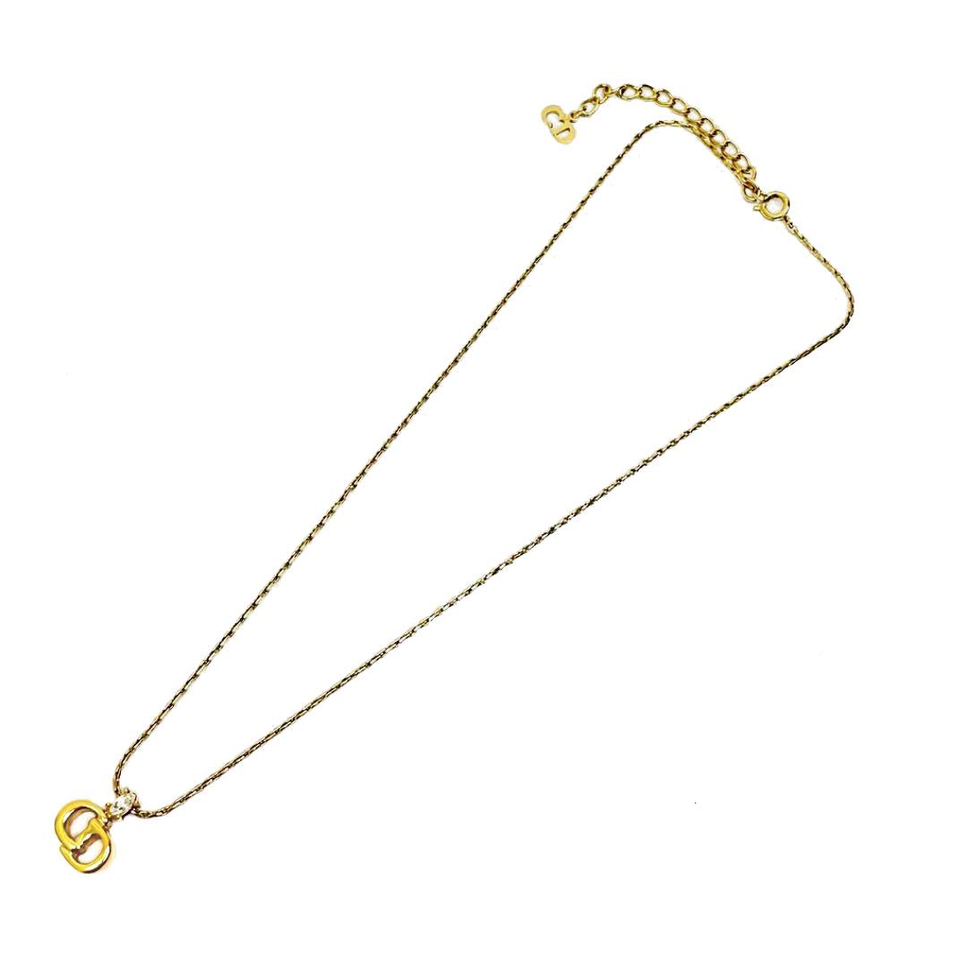 Christian Dior クリスチャン ディオール ロゴ ネックレス ラインストーン ゴールド