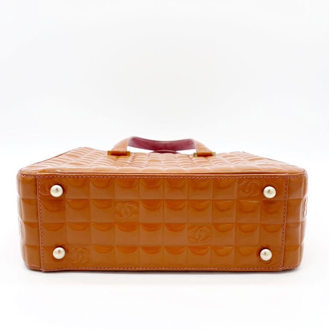 CHANEL シャネル チョコバー ハンドバッグ トートバッグ ココマーク エナメル オレンジ ピンク 7番台