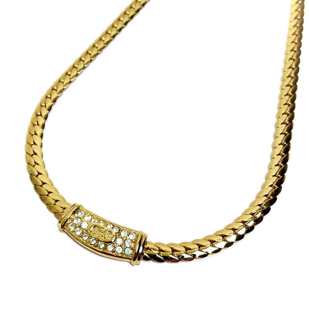 Christian Dior クリスチャンディオール チョーカー ネックレス ラインストーン ゴールド