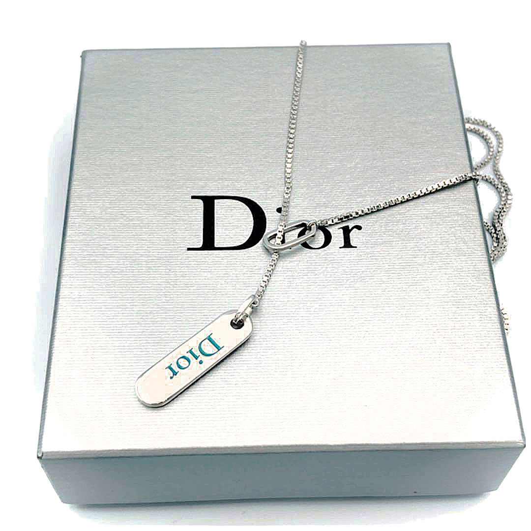 Christian Dior クリスチャンディオール ネックレス シルバー グリーン