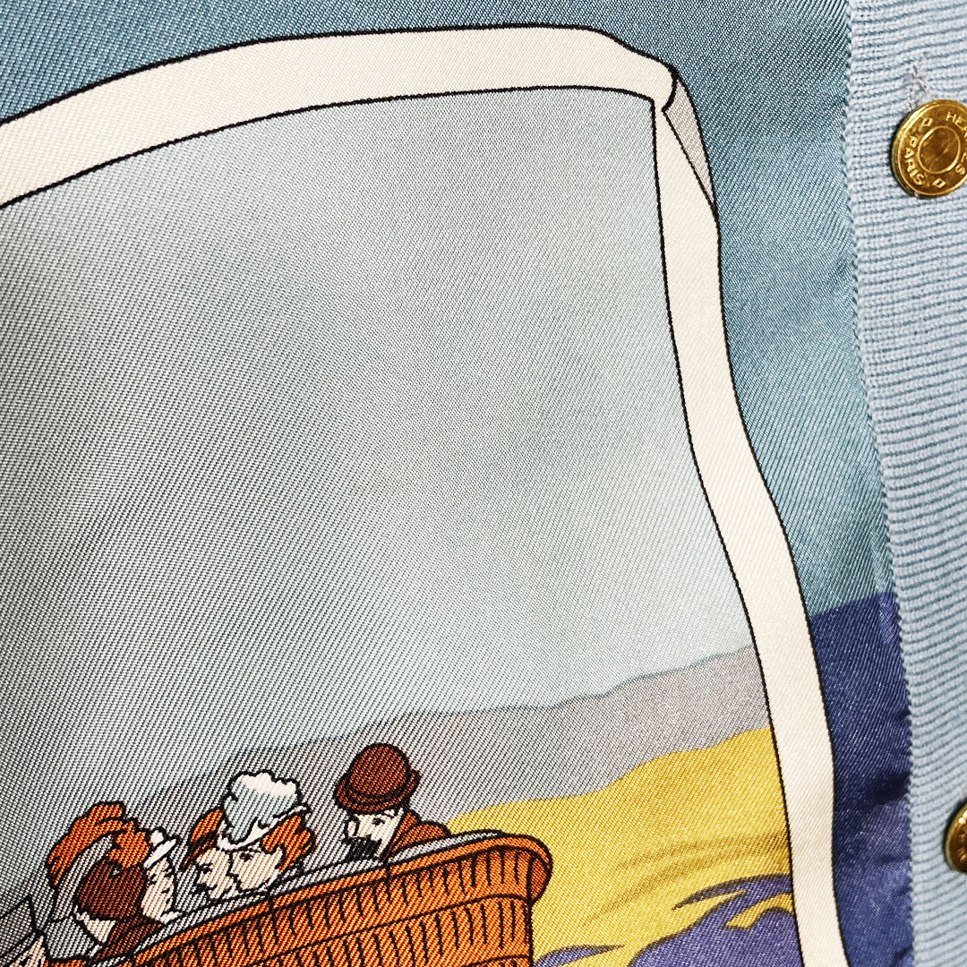 HERMES エルメス スカーフ カーディガン 40 セリエボタン シルク ウール ライトブルー