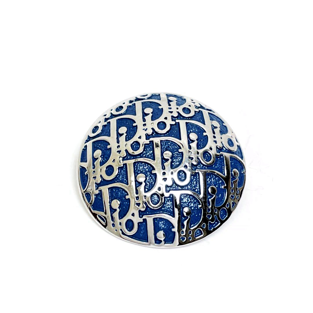 Christian Dior クリスチャンディオール ブローチ トロッター シルバー ブルー