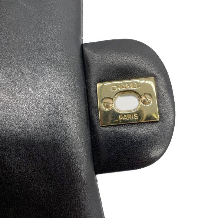 CHANEL シャネル マトラッセ チェーンショルダーバッグ 25cm レザー ブラック ゴールド金具 7番台