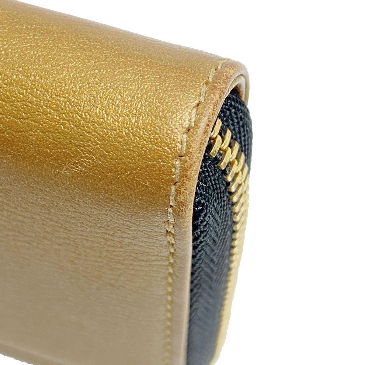 LOEWE ロエベ ラウンドファスナー コインケース アナグラムボタン レザー ゴールド ブラック
