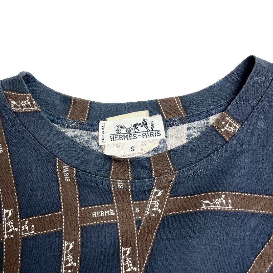 HERMES エルメス ボルデュック ロングスリーブ Tシャツ ロンT トップス S リボン柄 コットン ネイビー ブラウン