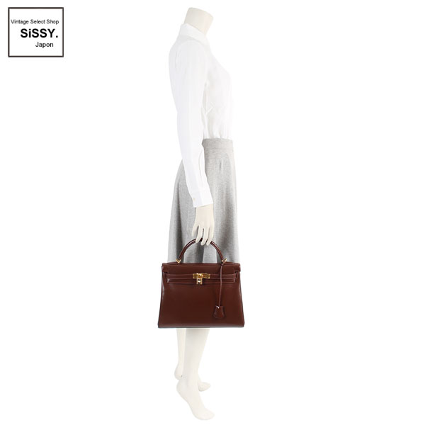 ■エルメス■ ケリー32 ハンドバッグ ボックスカーフ ハバナ 2WAY ゴールド金具 □F刻印 内縫い 【HERMES】