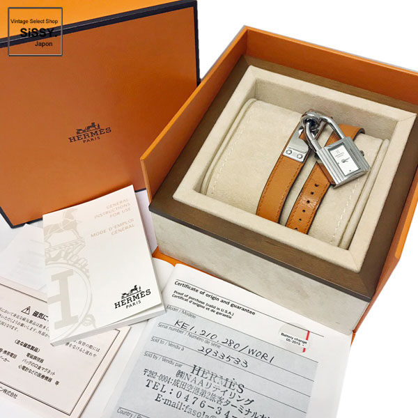 ■エルメス■ ケリーウォッチ ドゥブルトゥール 腕時計 レディース クオーツ SS レザー シルバー オレンジ □P刻印 【HERMES】