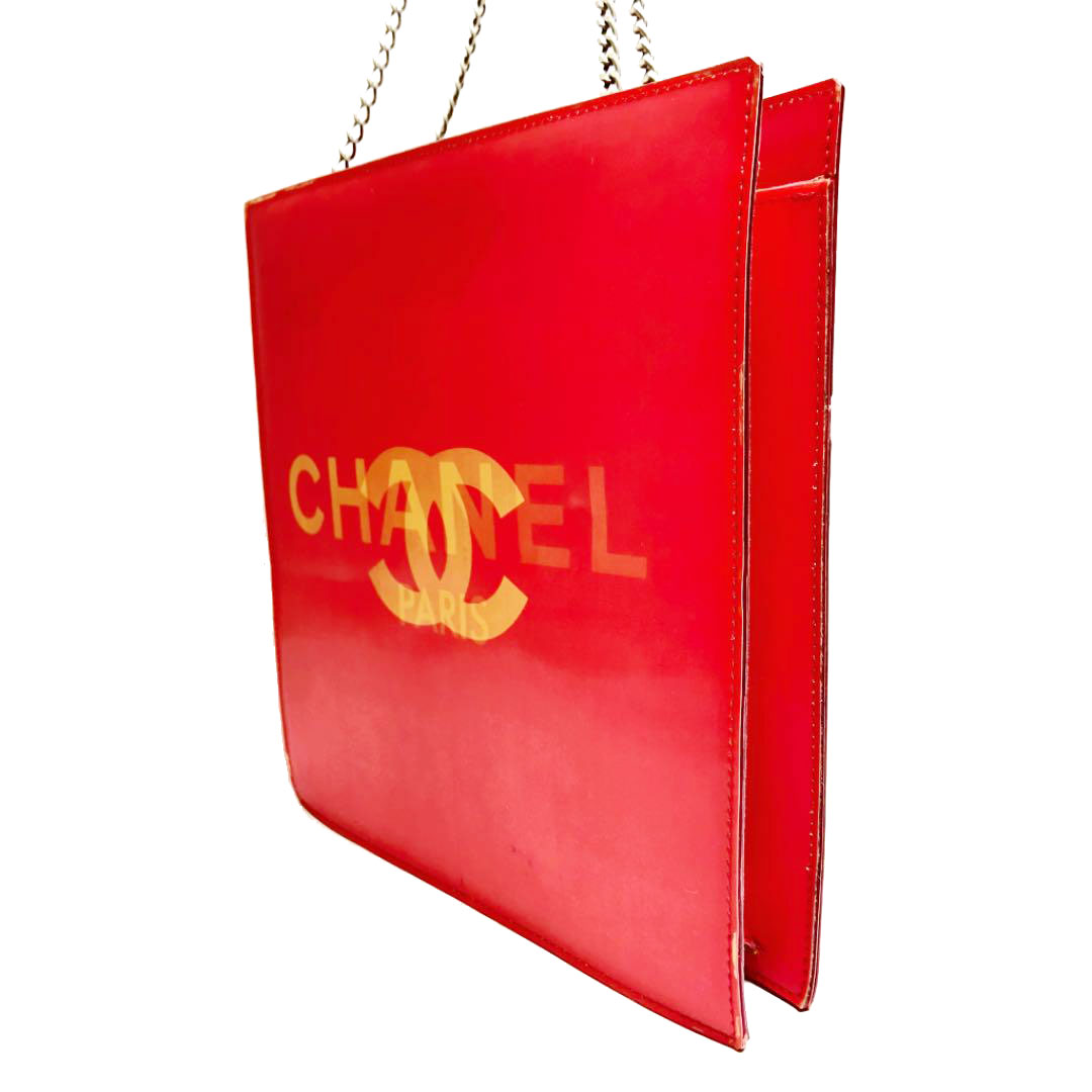 CHANEL シャネル ココマーク ホログラム チェーンショルダーバッグ レッド 6番台(2000年頃製造)