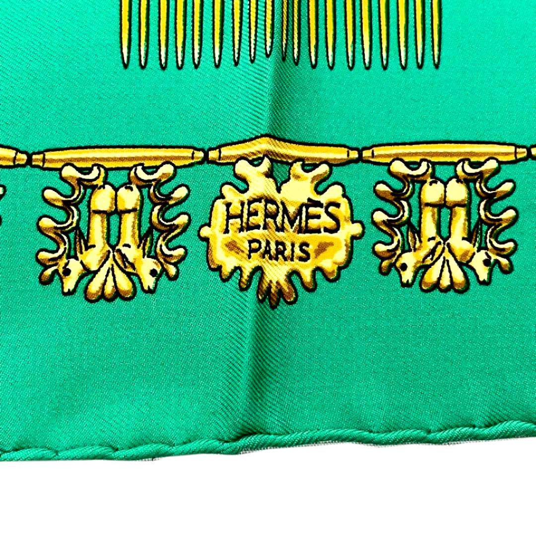 HERMES エルメス スカーフ カレ45 『LES CAVALIERS D'OR(黄金の騎士)』シルク グリーン