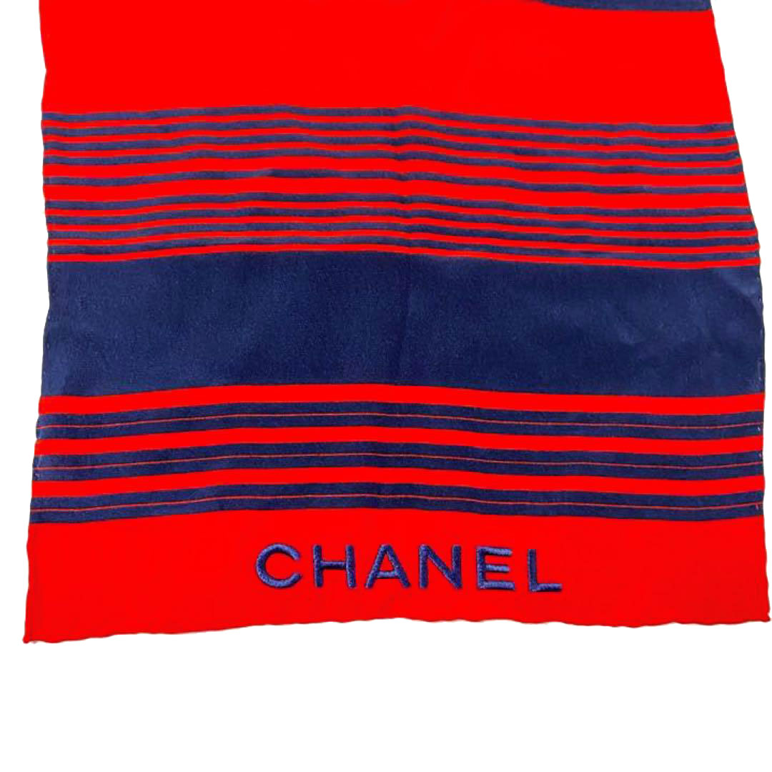 CHANEL シャネル ボーダー シフォンスカーフ シルク100% ネイビー レッド