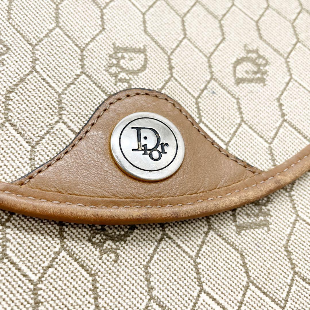 Christian Dior クリスチャンディオール ハニカム柄 ショルダーバッグ ポシェット PVC レザー ベージュ系