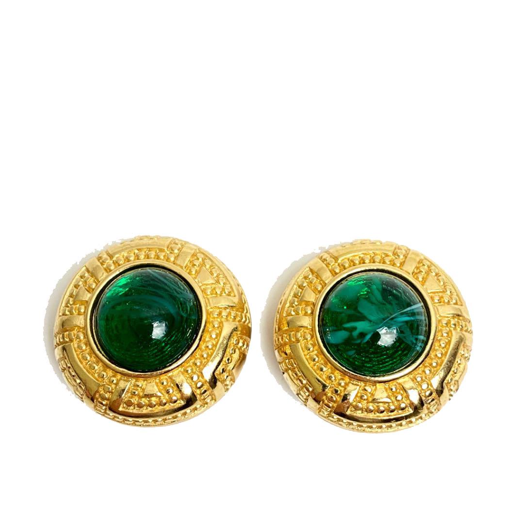 Christian Dior クリスチャンディオール ヴィンテージ ストーンイヤリング グリーン ゴールド