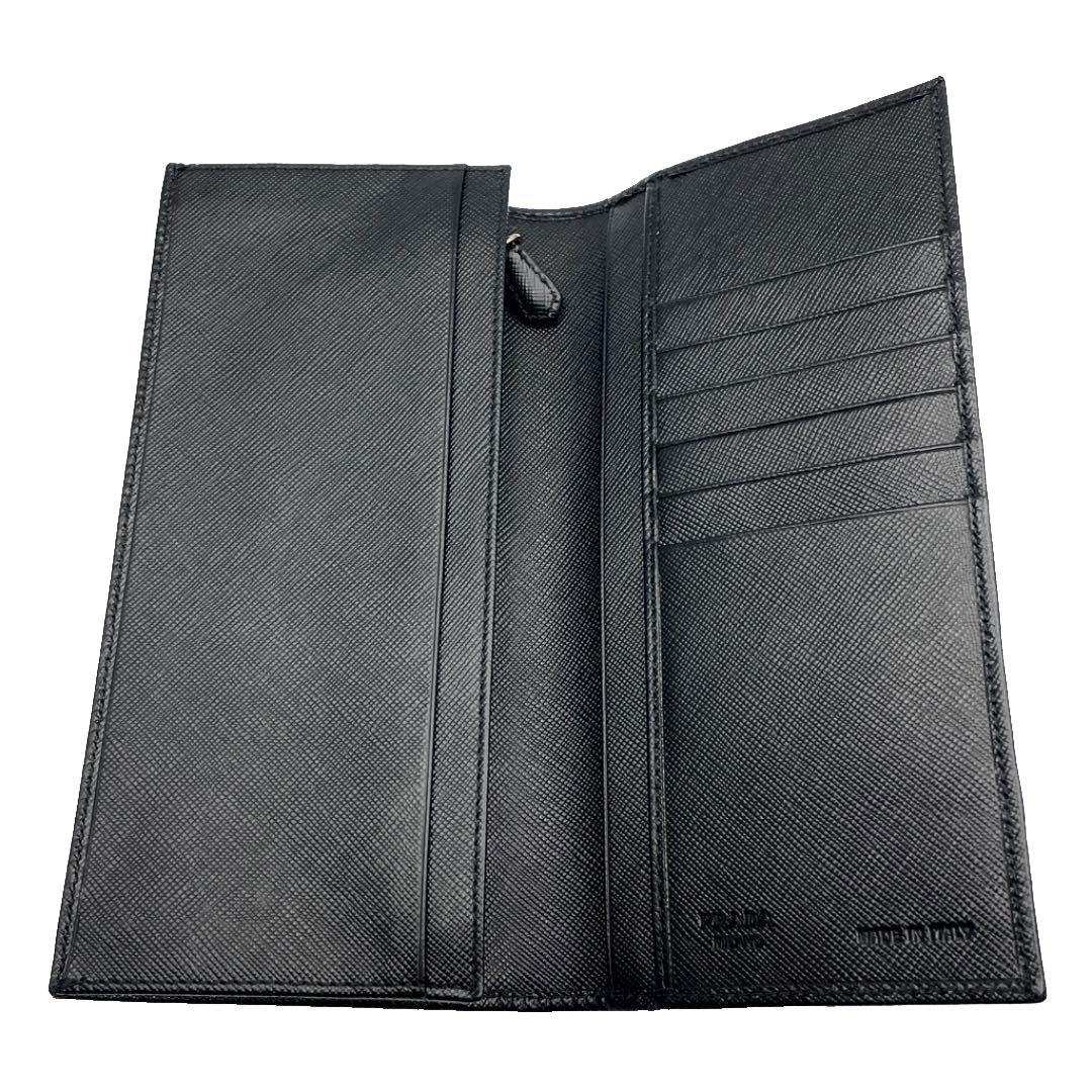 PRADA プラダ 二つ折り長財布 サフィアーノレザー ブラック 2M0836