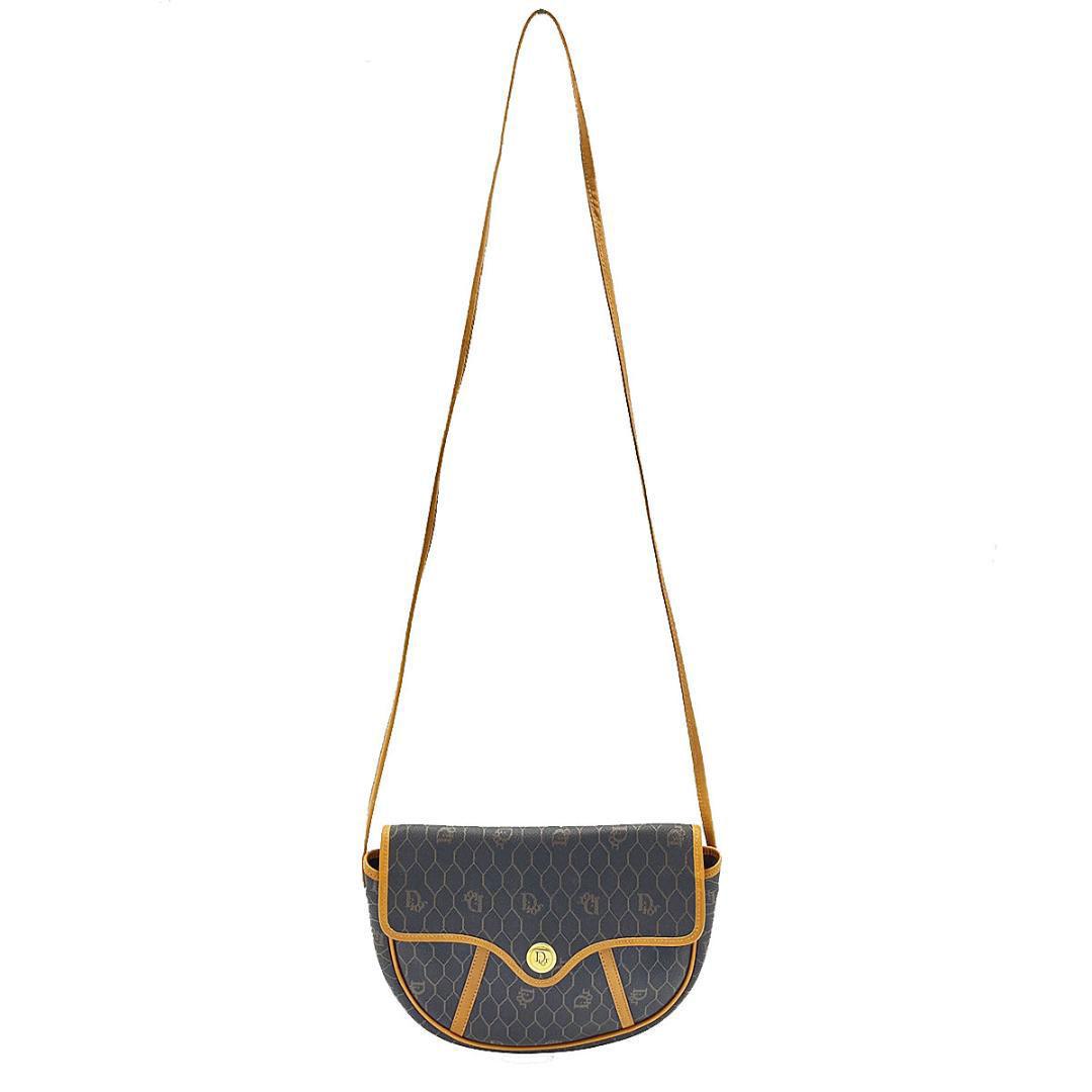 Christian Dior クリスチャンディオール ハニカム柄 ショルダーバッグ ポシェット PVC レザー ダークブラウン