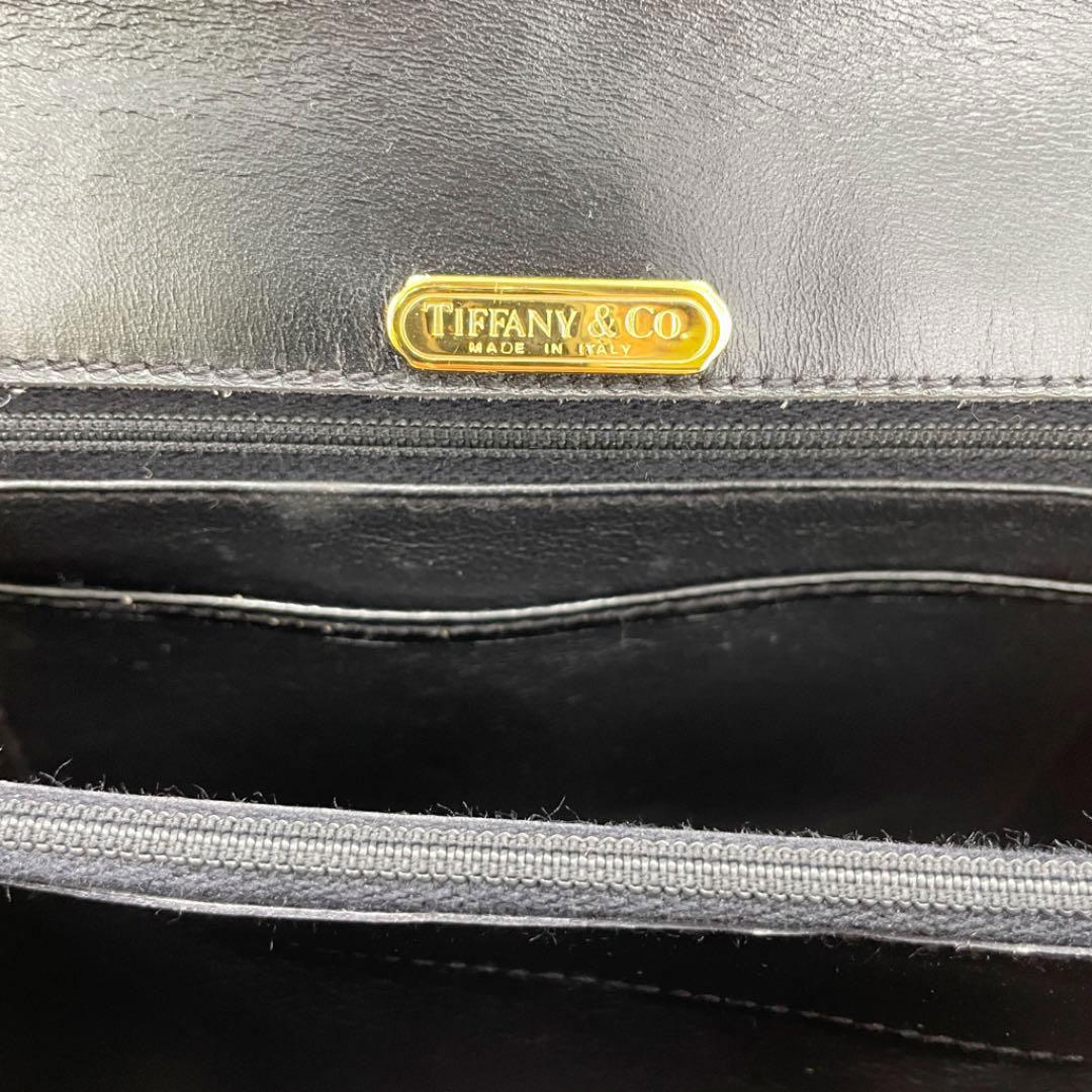 TIFFANY&Co. ティファニー カーフレザー ハンドバッグ T金具 ブラック ゴールド ヴィンテージ