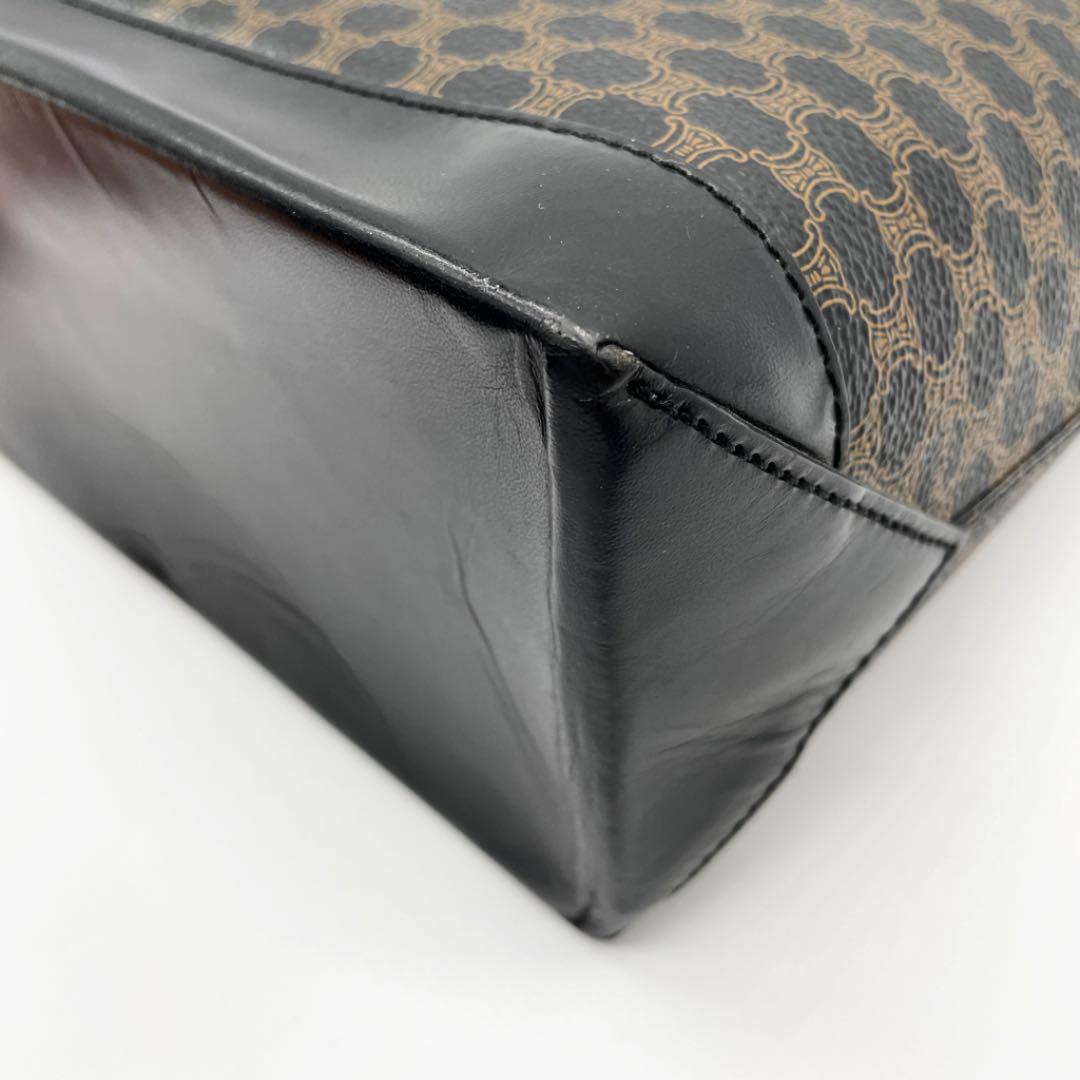 CELINE セリーヌ トートバッグ マカダム柄 PVC/レザー ブラック ブラウン CE00/12