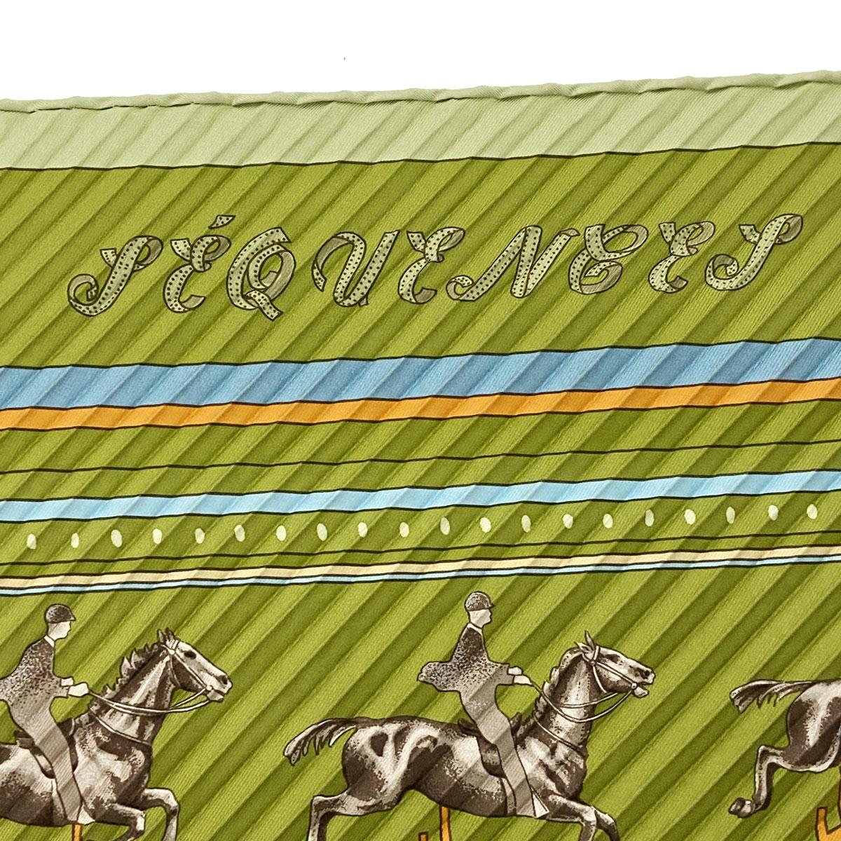 HERMES エルメス プリーツスカーフ 馬柄 シルク グリーン/オレンジ/水色
