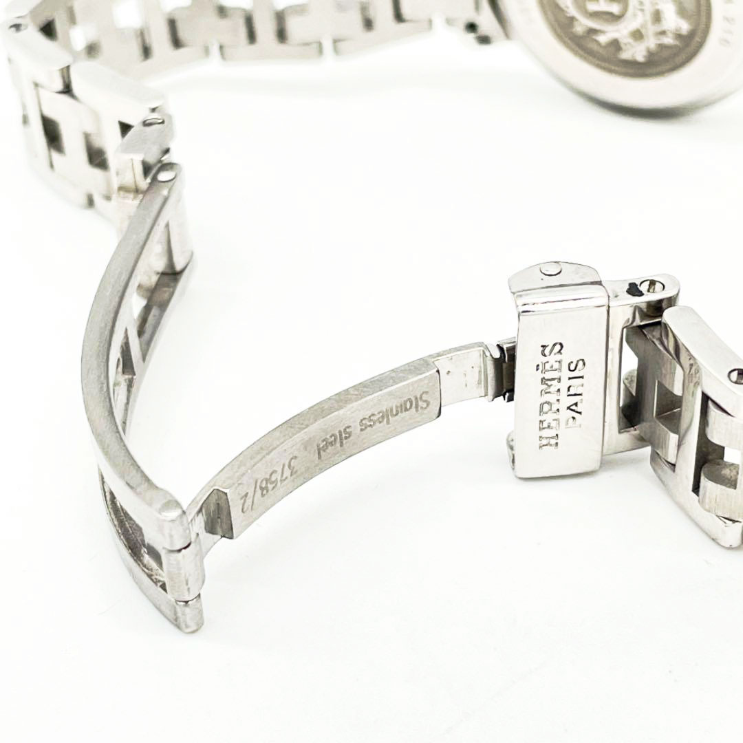 HERMES エルメス レディース腕時計 クリッパー QZ SS シルバー ネイビー文字盤 CL4.210