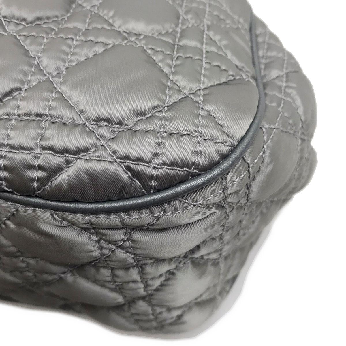 Christian Dior クリスチャンディオール カナージュ ハンドバッグ ナイロン レザー シルバー