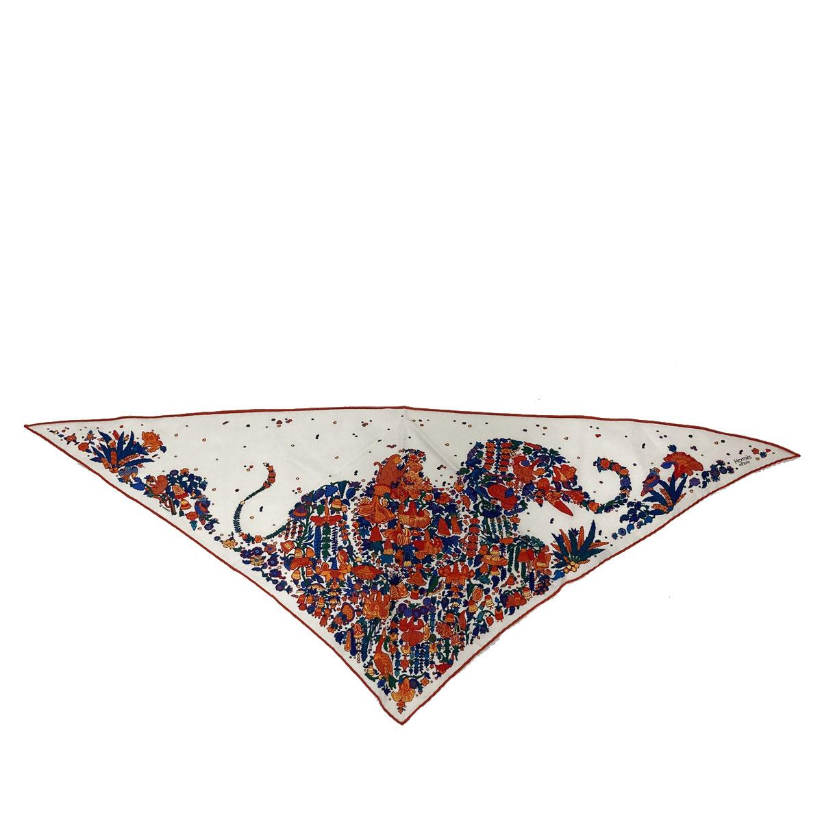 HERMES エルメス 三角スカーフ ポワントゥ シルク100% マルチカラー