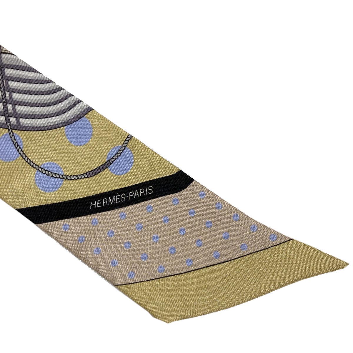 HERMES エルメス スカーフ ツイリー シルク100% イエロー系