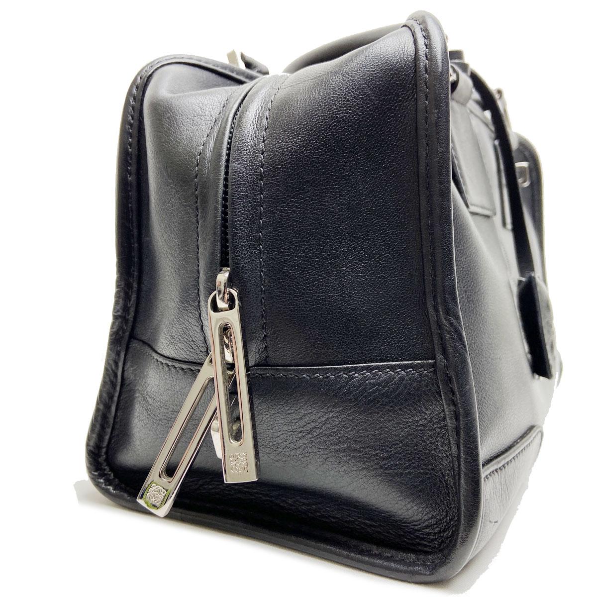 LOEWE ロエベ ハンドバッグ アマソナ29 レザー ブラック シルバー金具
