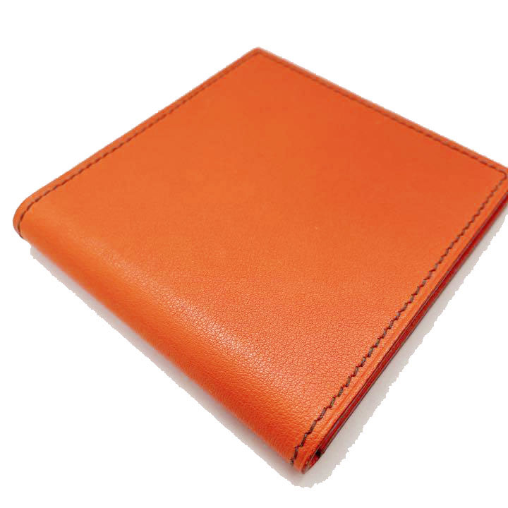 HERMES エルメス コンパクトミラー レザー オレンジ 2001年 銀座店オープン記念 限定品