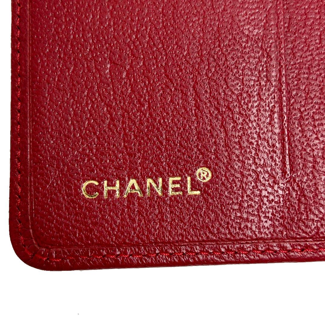 CHANEL シャネル カードケース レザー ココマーク レッド ゴールド金具 5番台(1998年頃製造)
