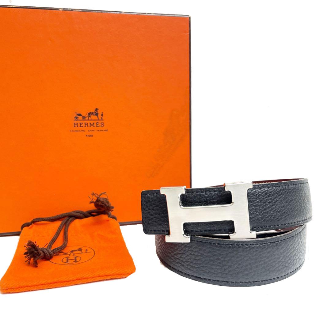 HERMES エルメス Hベルト レザー ブラック ブラウン系 シルバー金具 70 □E刻印(2001年頃製造)
