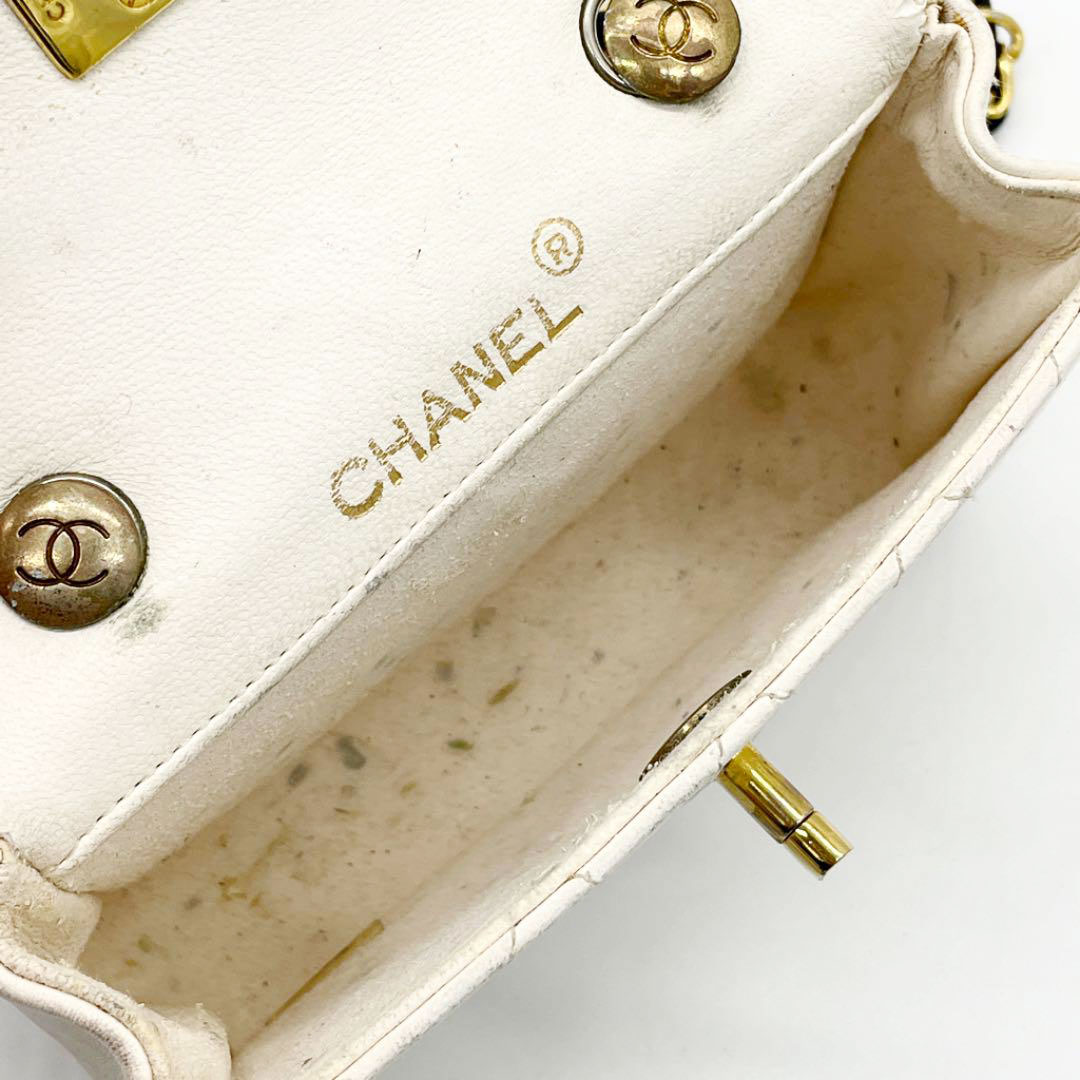 CHANEL シャネル ミニマトラッセ チェーンショルダーバッグ バイカラー ネイビー ホワイト 0番台 ヴィンテージ