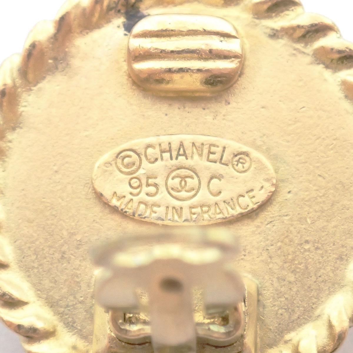 CHANEL シャネル イヤリング ココマーク サークル ブラック ゴールド 95C