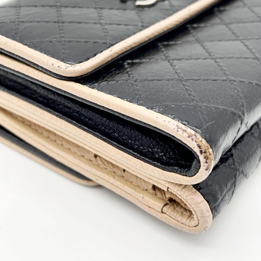 CHANEL シャネル 三つ折り コンパクト財布 ビコローレ ブラック ベージュ 2010年