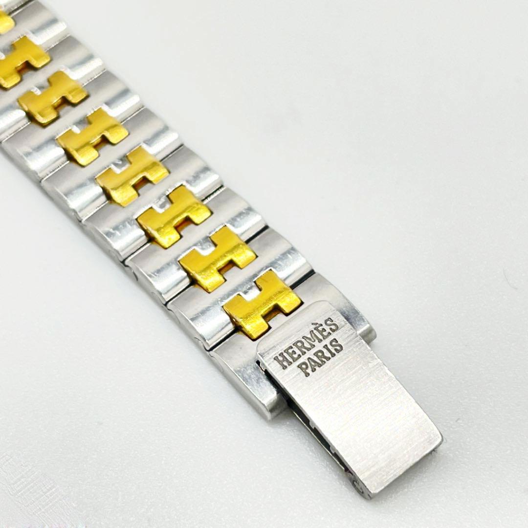 HERMES エルメス レディース腕時計 セリエ SE4.220 QZ シルバー ゴールド コンビ ベージュ文字盤