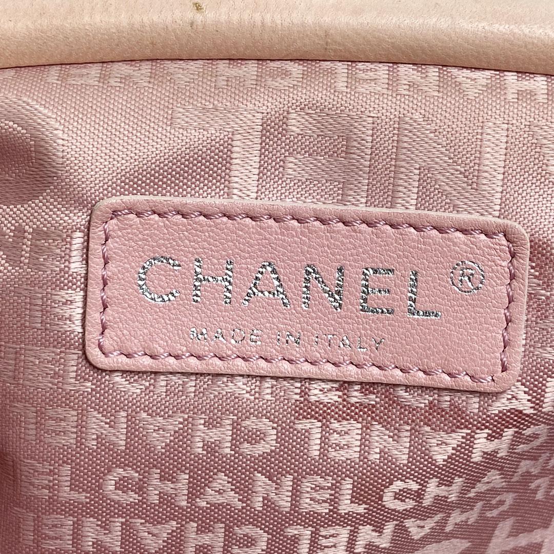 CHANEL シャネル がま口 チェーンショルダーバッグ ラムスキン ピンク 9番台(2005年頃製造)