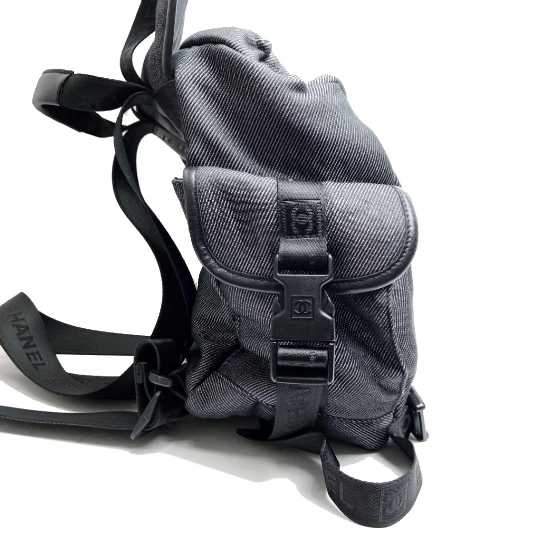 CHANEL シャネル リュックサック バックパック スポーツライン キャンバス グレー ブラック 10番台(2006年頃製造)