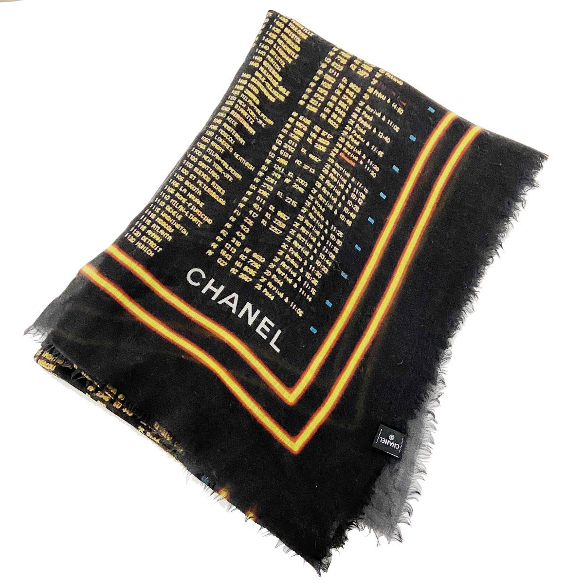 CHANEL シャネル 大判ストール ショール デジタル柄 ココマーク ブラック系 カシミヤ100%