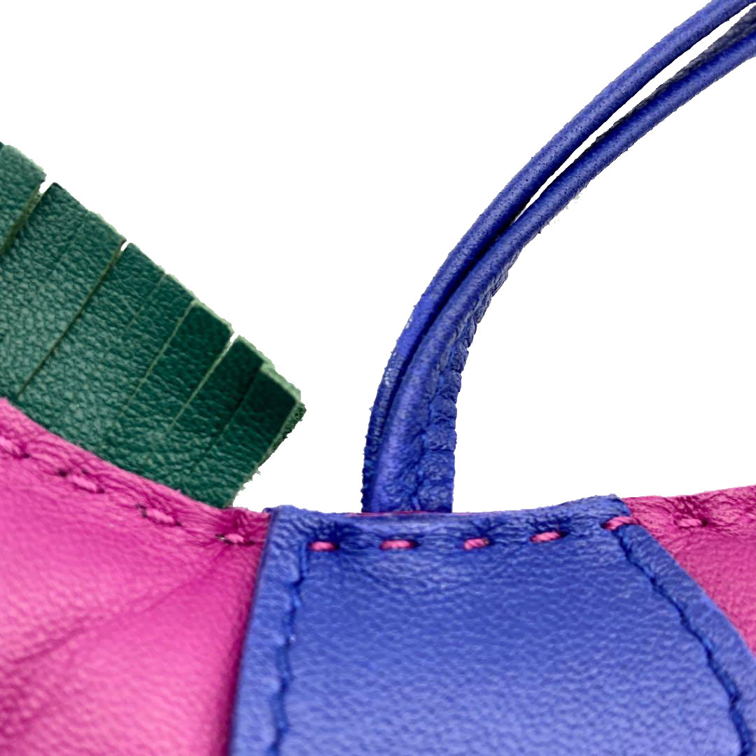HERMES エルメス バッグチャーム ロデオMM アニューミロ ローズパープル ブルーエレクトリック マラカイト A刻印(2017年頃製造)