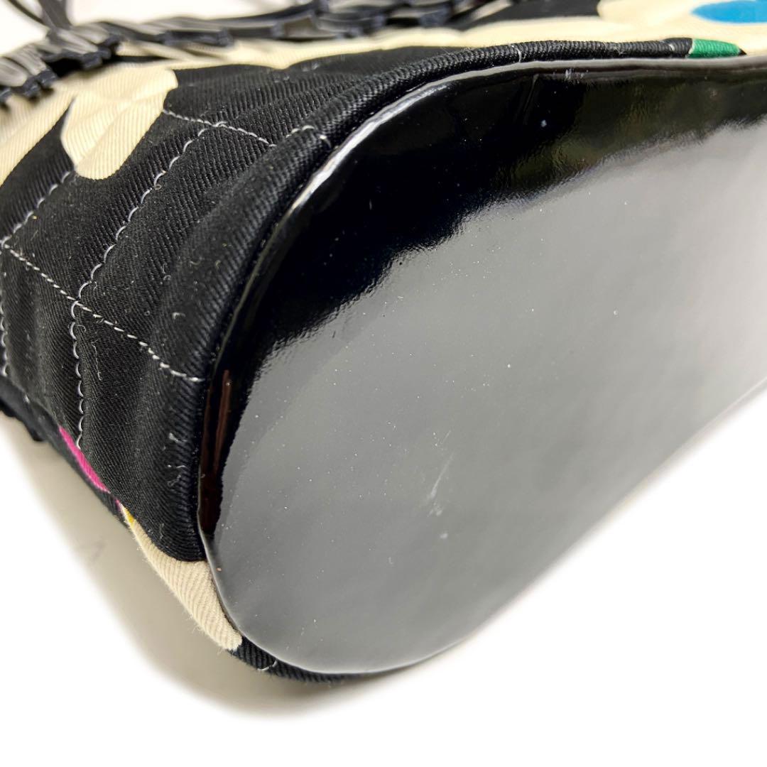 CHANEL シャネル チョコバー ミニトートバッグ フリンジ エナメル キャンバス ブラック マルチカラー 5番台(1998年頃製造)