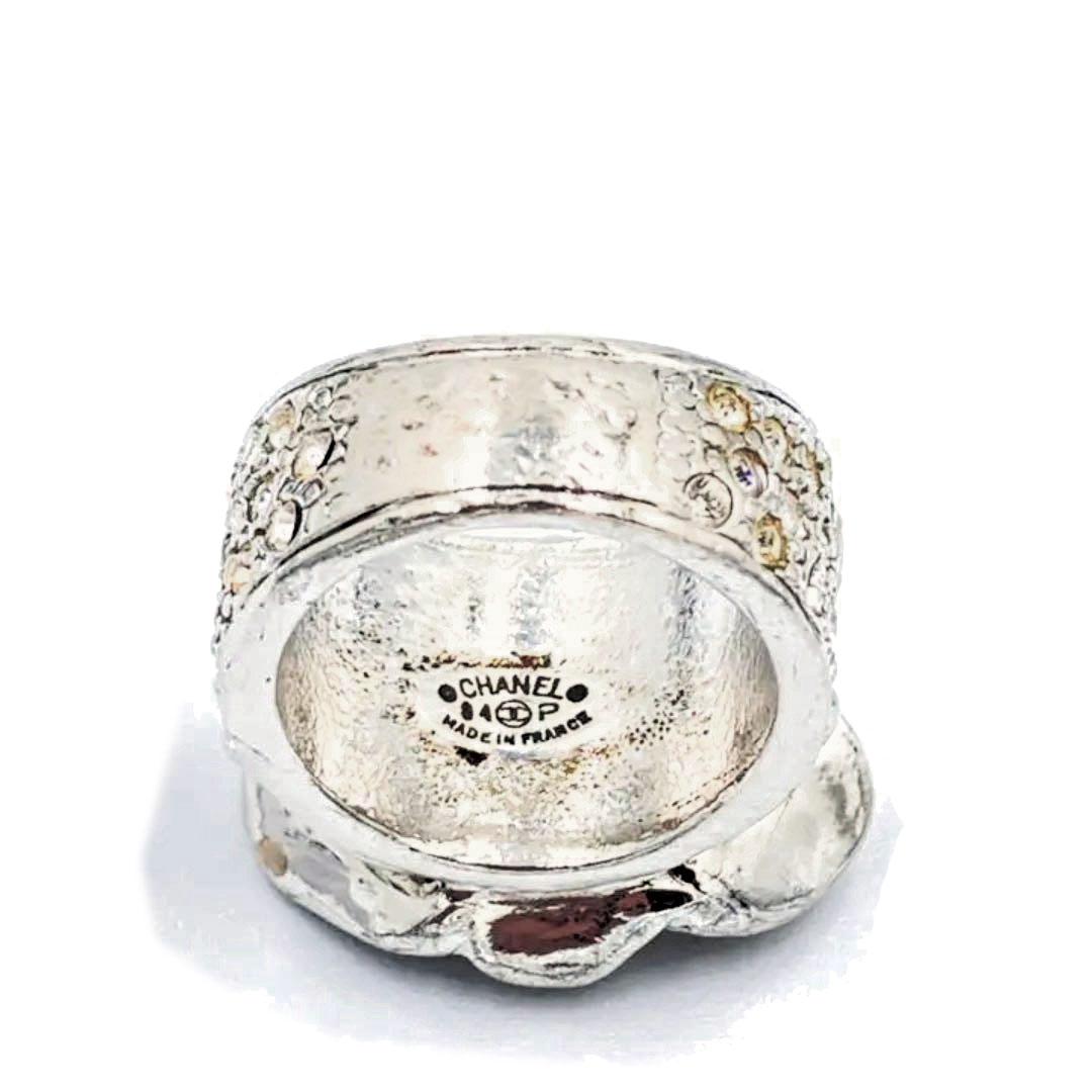 CHANEL シャネル リング 指輪 カメリア ココマーク ラインストーン シルバー ピンク 04P 約12号