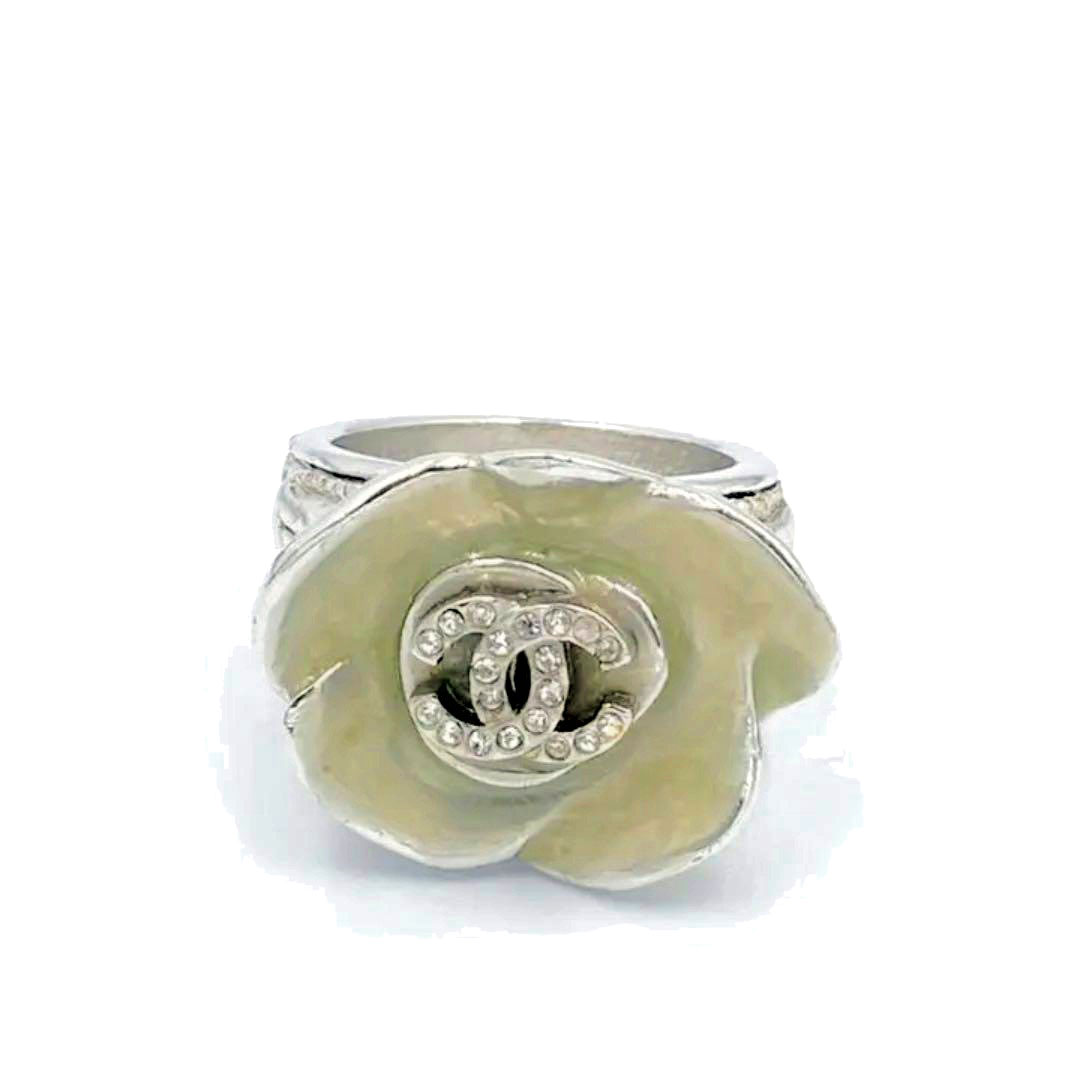 CHANEL シャネル リング 指輪 カメリア ココマーク ラインストーン シルバー ピンク 04P 約13号