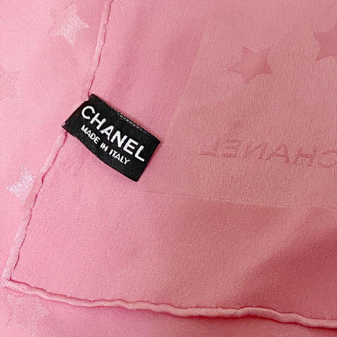 CHANEL シャネル スカーフ スター ココマーク ピンク シルク100% 12P