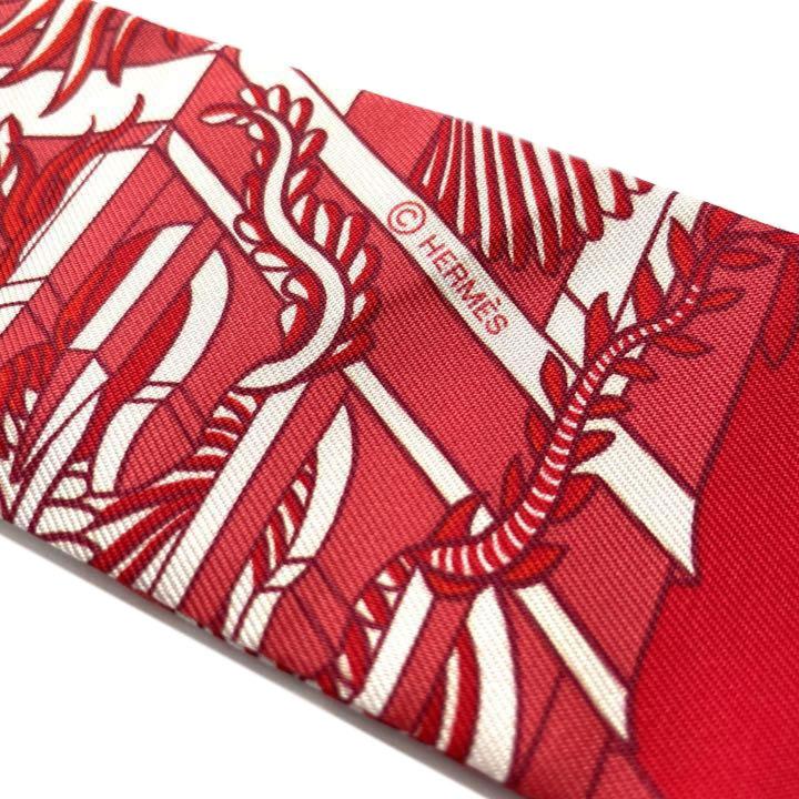 HERMES エルメス スカーフ ツイリー 『ANIMAPOLIS(アニマポリス)』 シルク レッド ホワイト